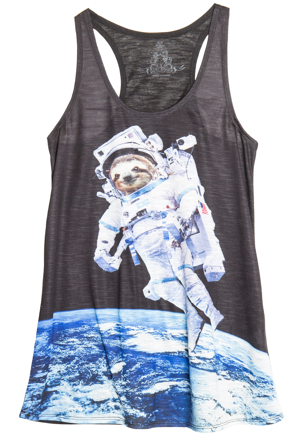 sloth astronaut graphic tank