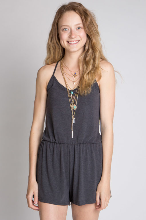 solid charcoal romper