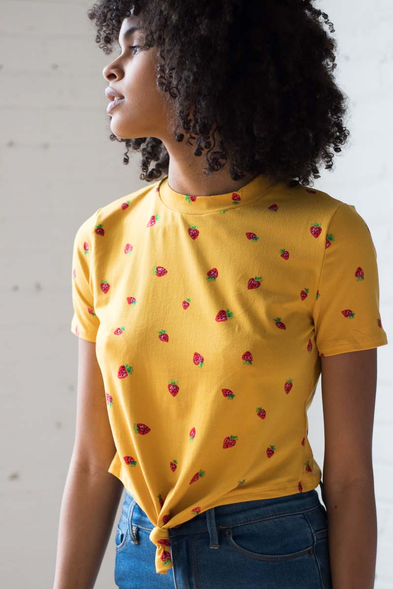Strawberry-Knot-Tee-Yellow-2