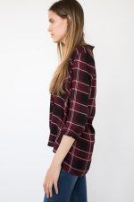 Tie Neck Plaid Shirt