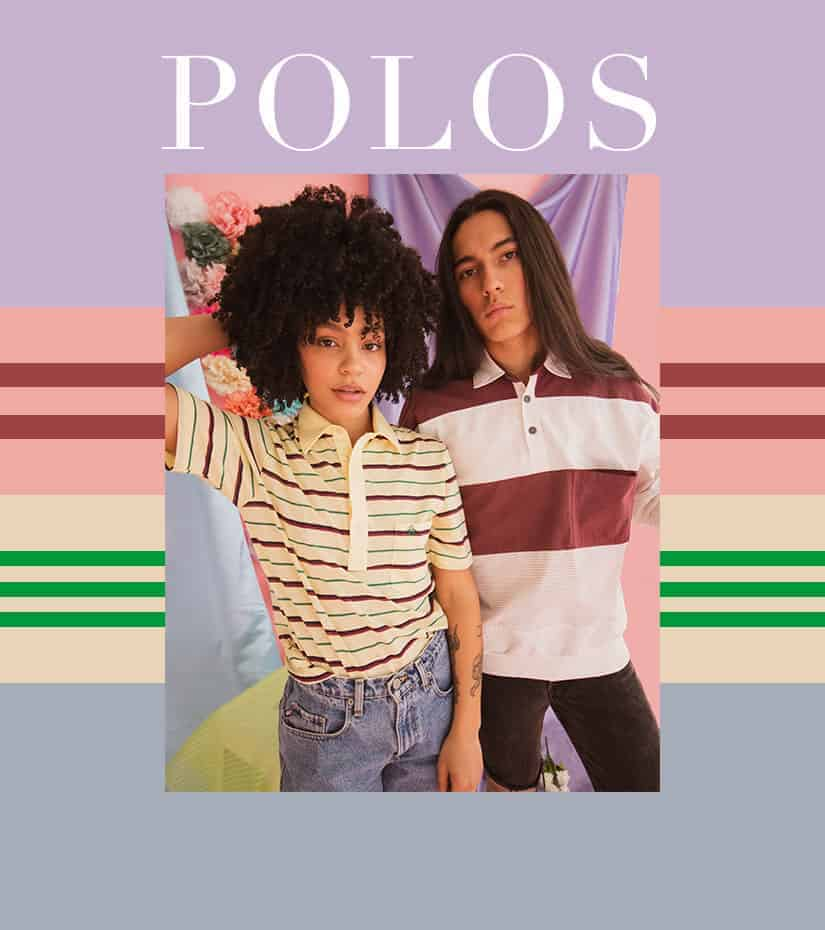 two models wearing vintage polo shirts
