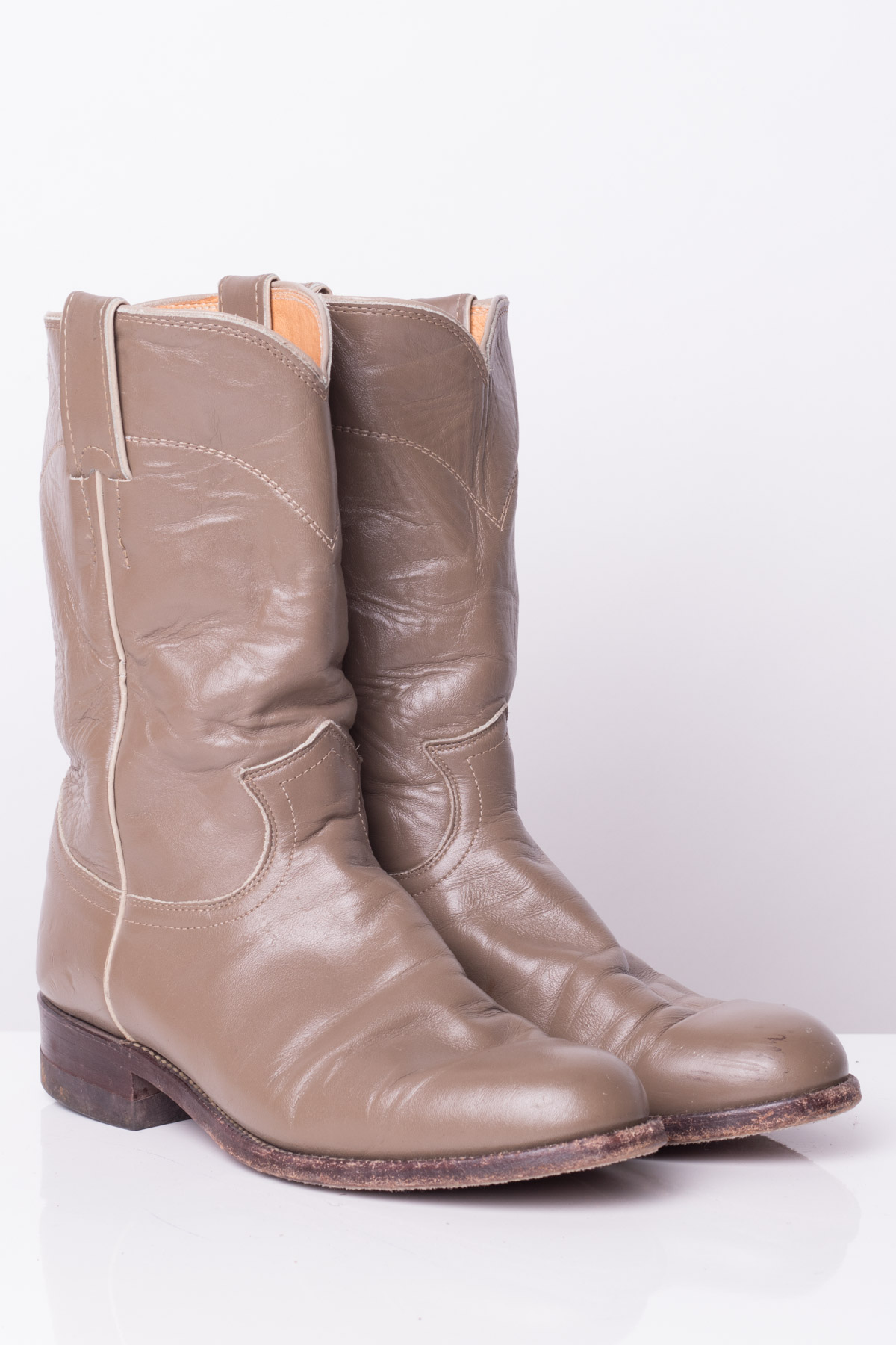 Tan Leather Justin Cowboy Boots (7C)