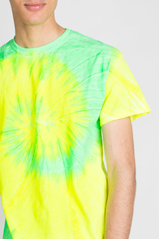 yellow lime swirl tie dye tee shirt