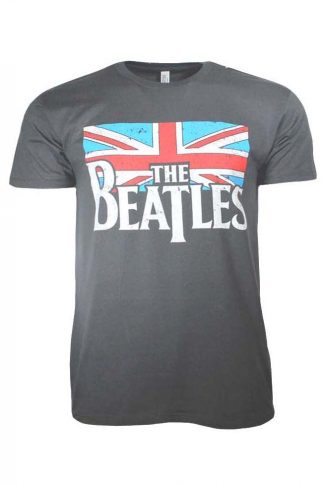 Beatles Distressed British Flag Band T Shirt