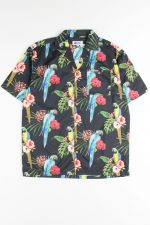 Black Hibiscus Parrot Hawaiian Shirt