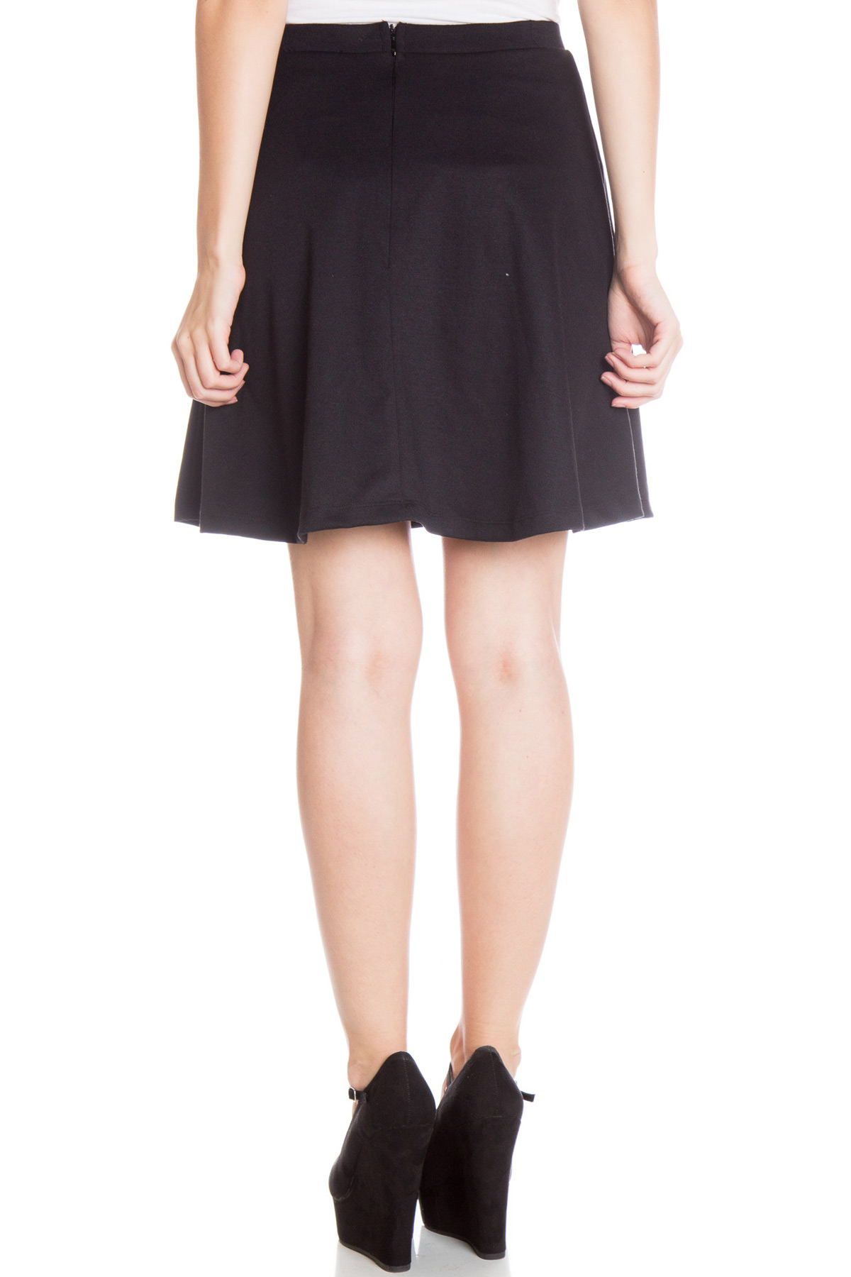 solid high waisted skater skirt ragstock