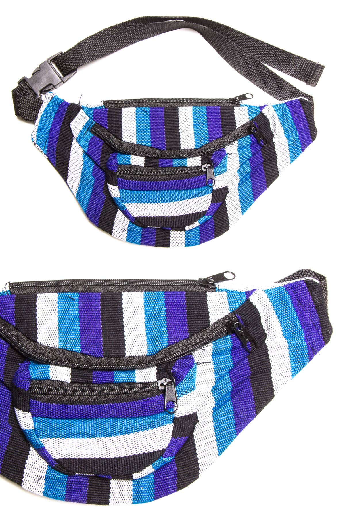 blue striped woven fanny pack