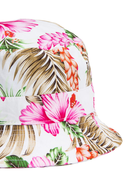 Bucket Hat Pink White Pink Floral Bucket Hat