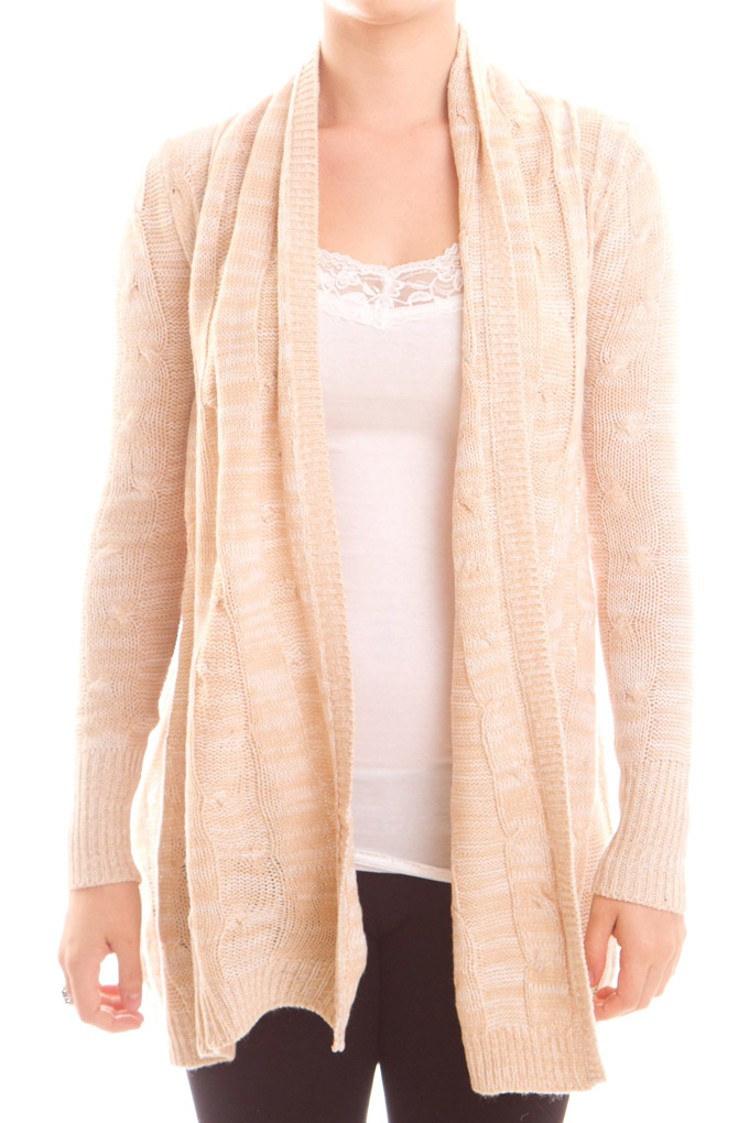 Women's Long Sleeve Cable Knit Open Cardigan Sweater - Ragstock