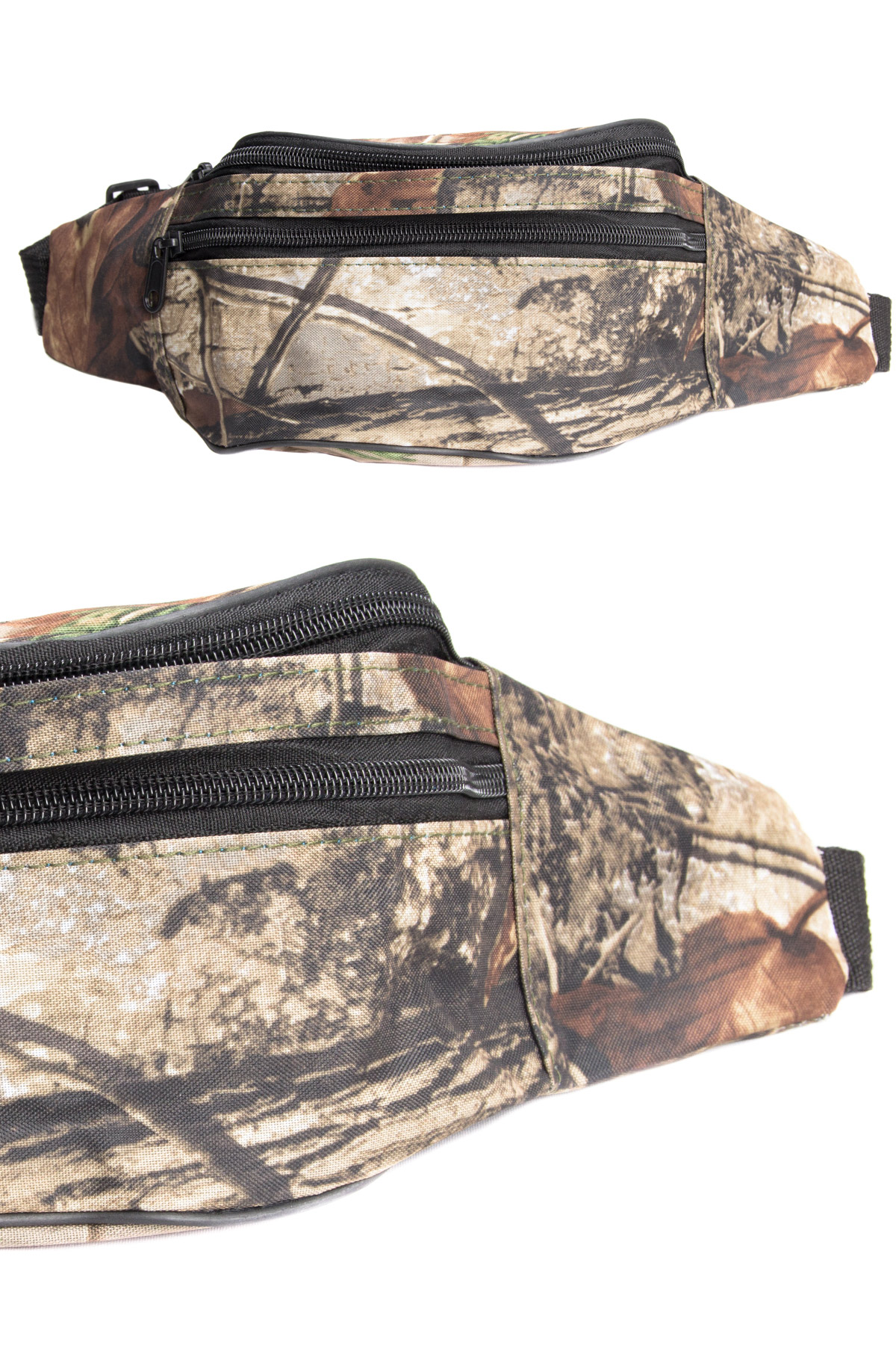 camo with brown leaves fanny pack