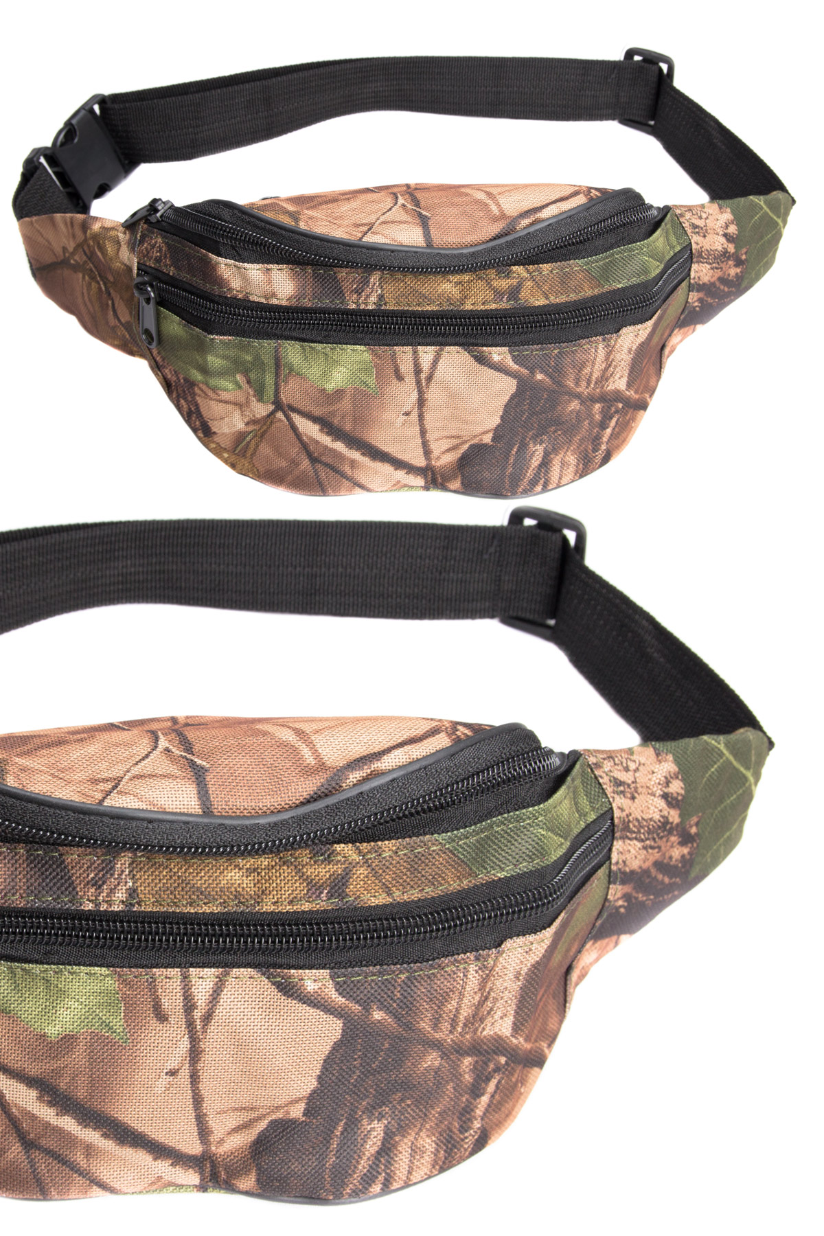 camo leaves green fanny pack