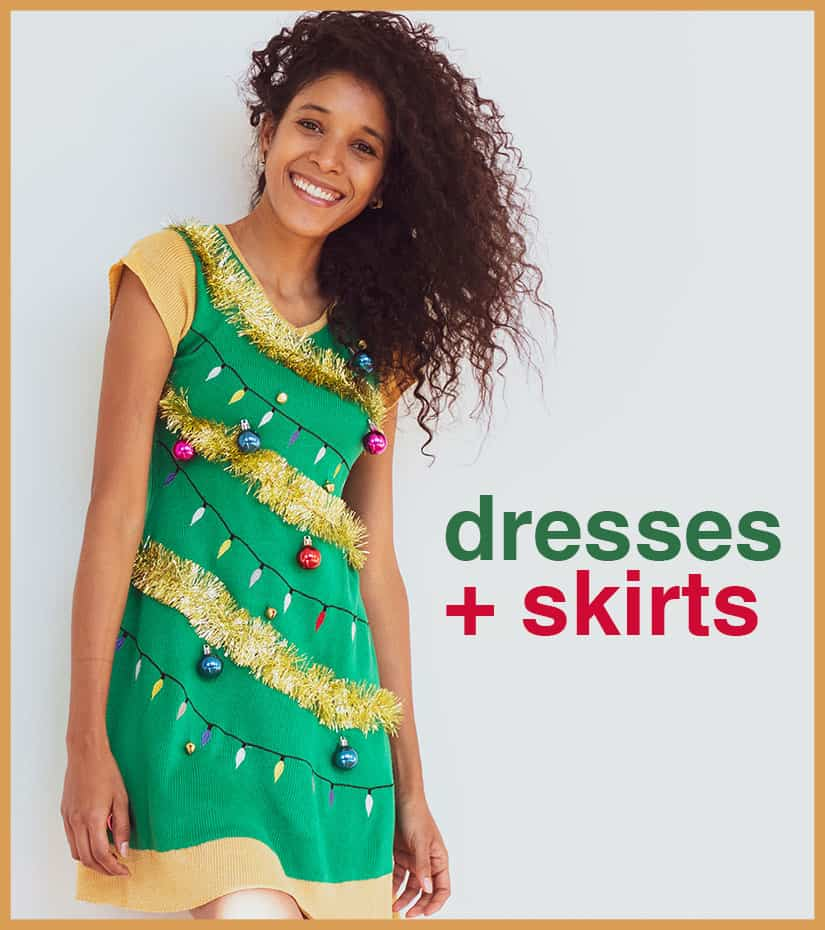 female model wearing holiday tree dress
