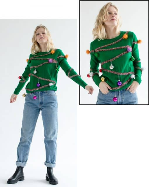 Girl wearing Christmas tree sweater with ornaments