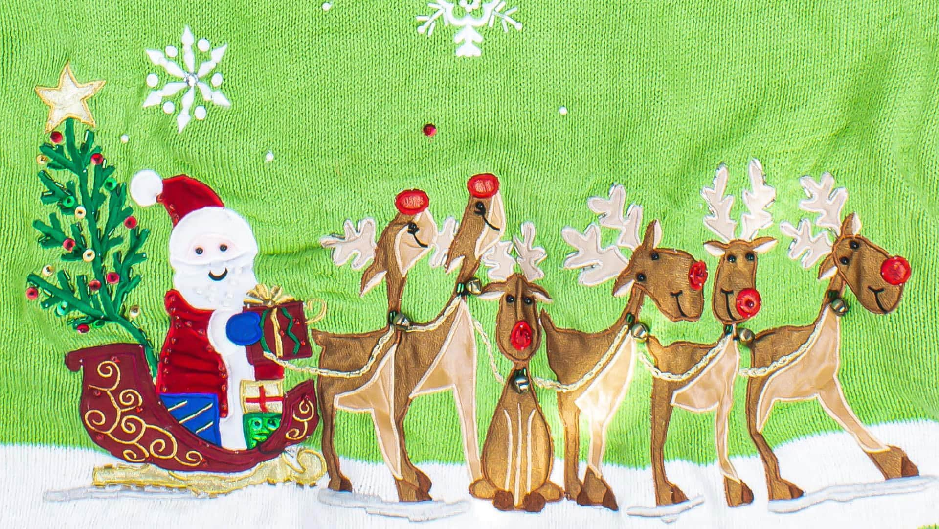 Ugly Christmas sweater featuring Santa Claus in his sleigh which is being led by six reindeer. The background is a bright green sweater.
