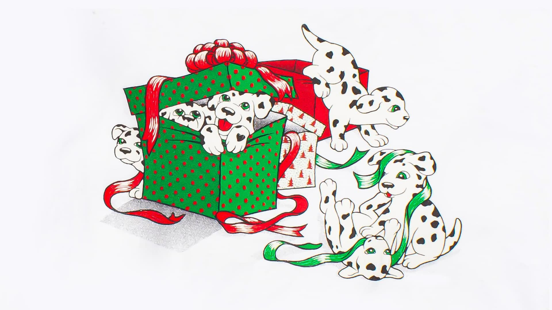 Ugly Christmas sweatshirt featuring Dalmatian dogs busting out of wrapped presents