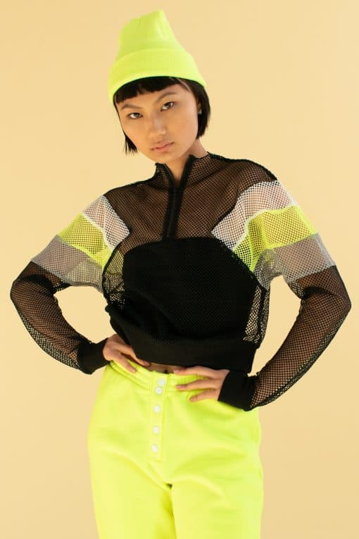 Color Block Fishnet Pullover Jacket