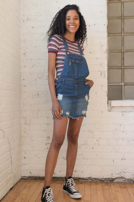 679531eded1 Dark Wash Distressed Denim Overall Skirt - Ragstock