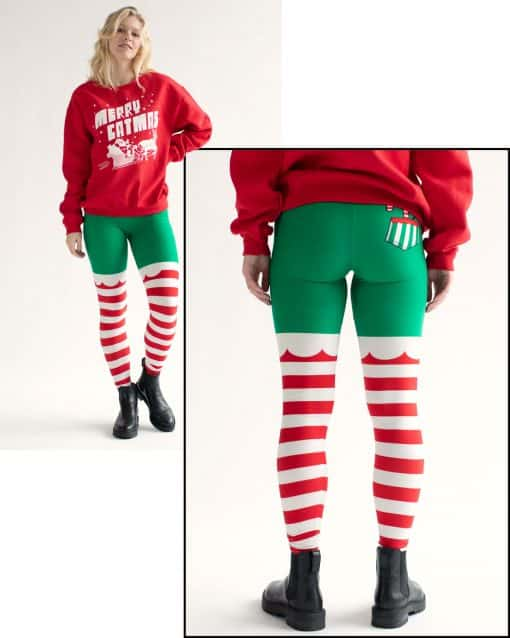 Elf holiday leggings with stripes on woman