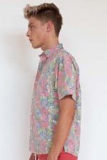 Faded Pink Hibiscus Print Button Up Shirt