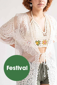 woman wearing crocheted festival outfit