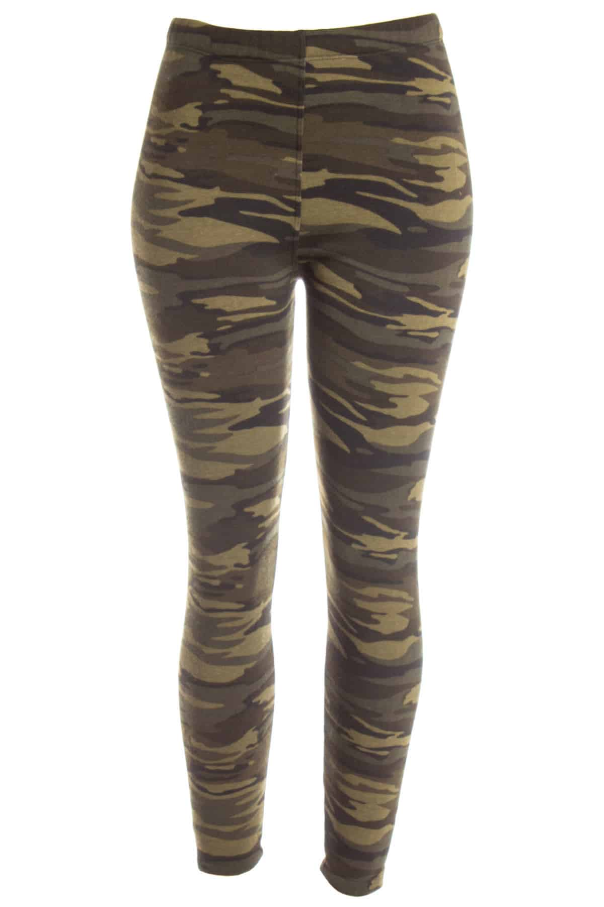 green fleece lined camo leggings