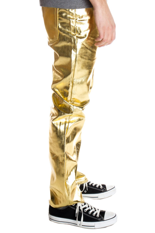 gold metallic jeans for men