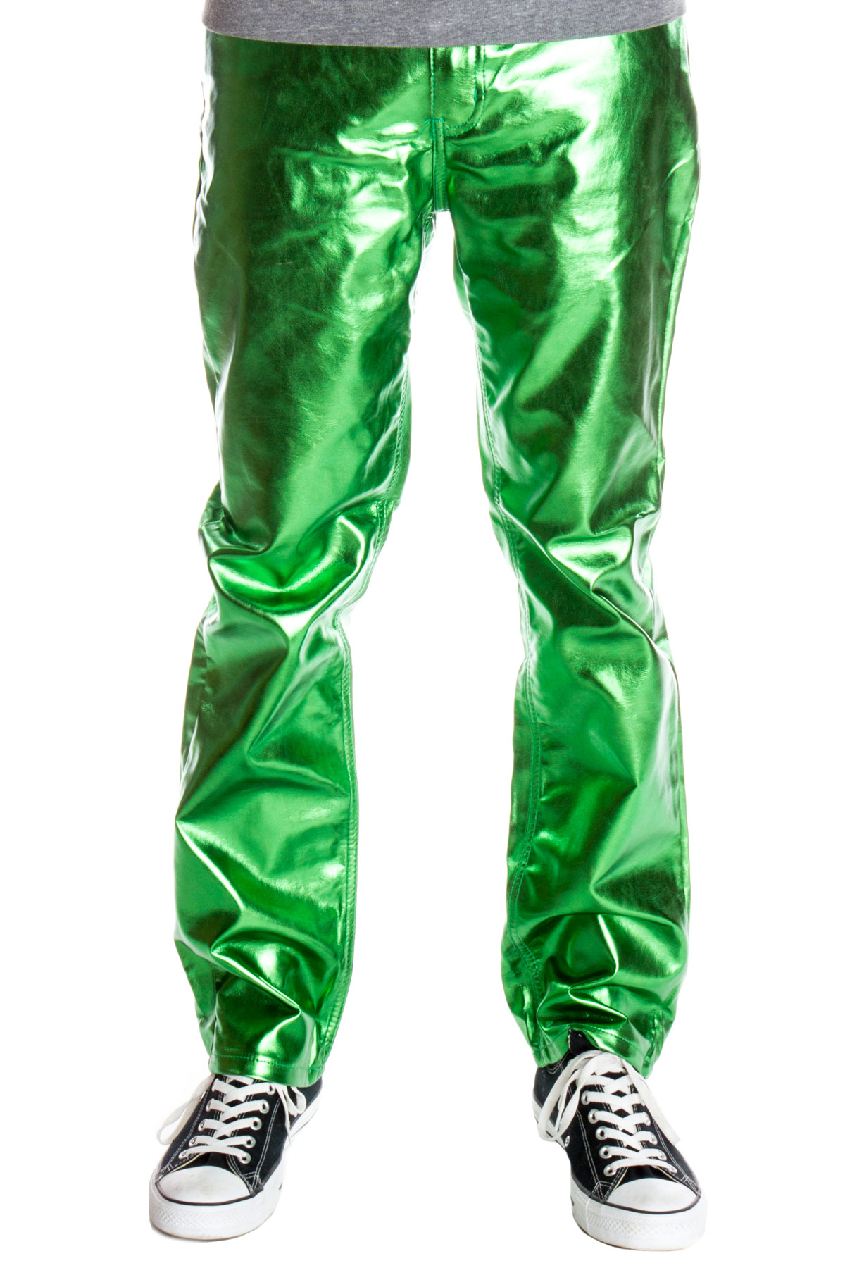 green metallic jeans for men