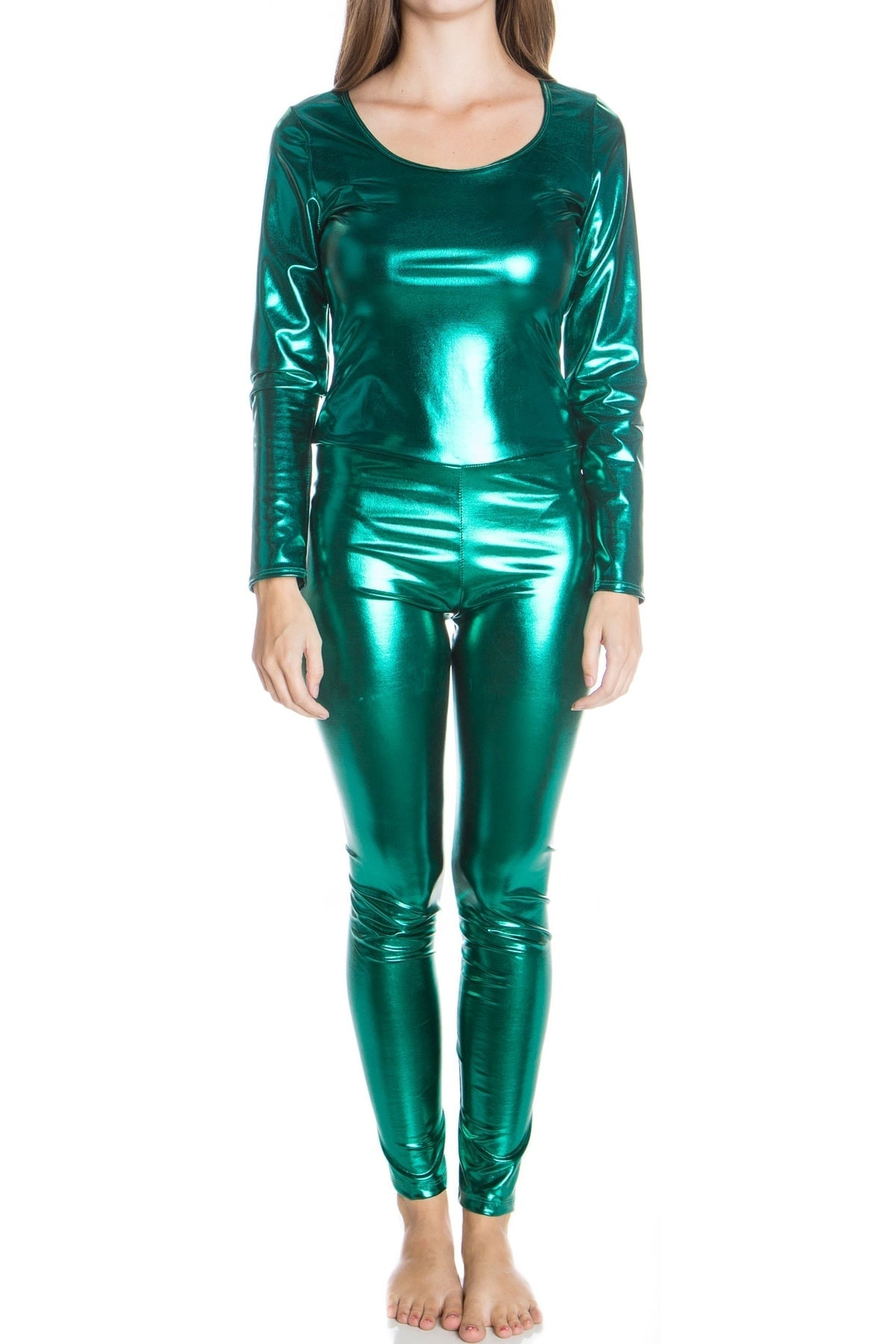 green metallic jumpsuit