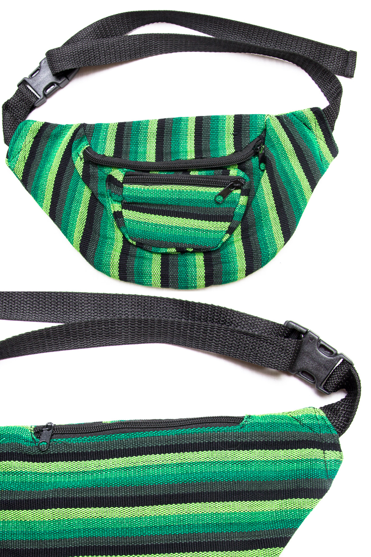 green woven fanny pack
