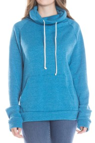 blue high neck fleece hoodie