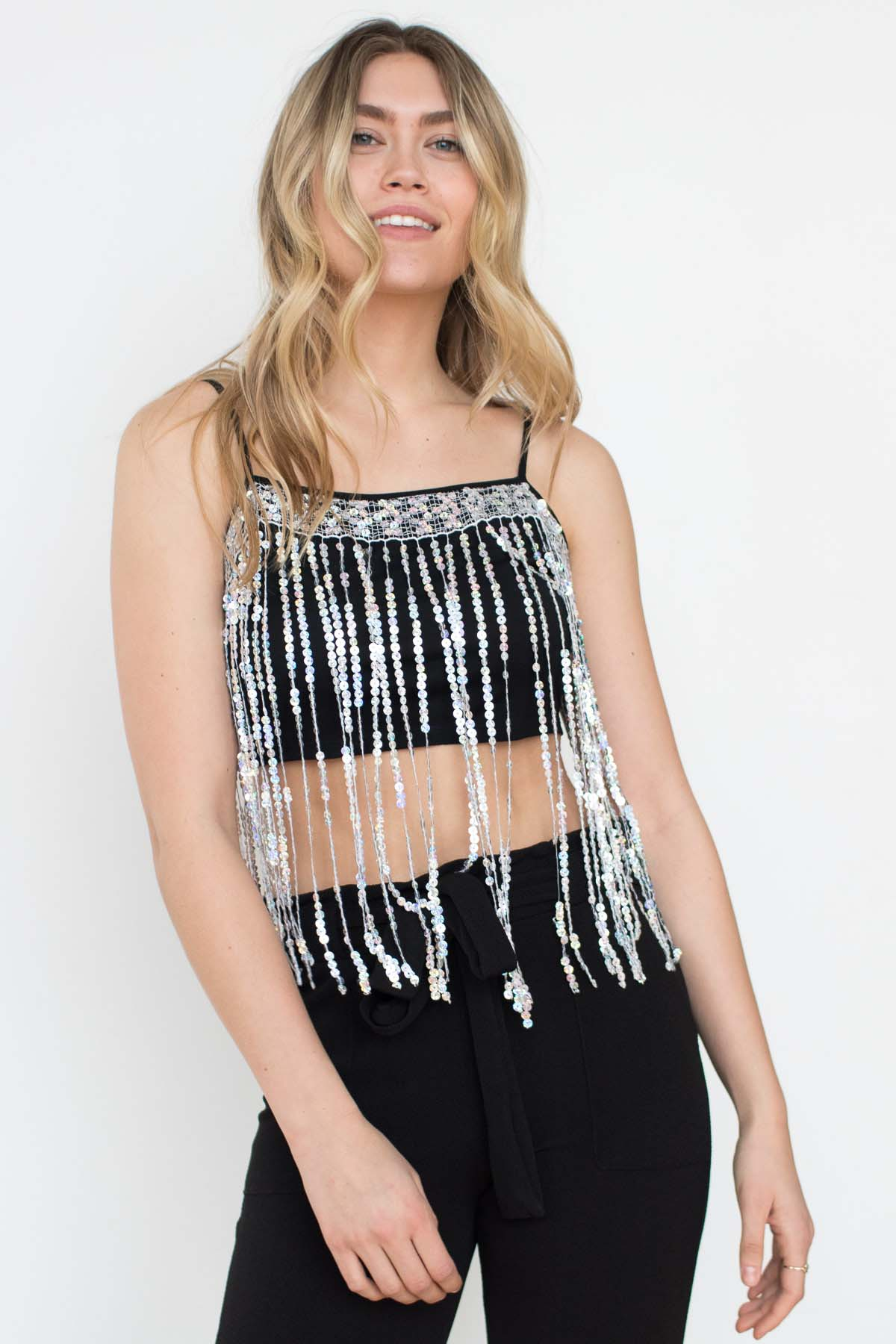ced7b3afbed7f6 Holographic Sequin Fringe Tank - Ragstock