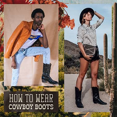 how to wear cowboy boots. two models pose in boots.