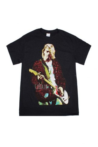 Kurt Cobain Red Jacket Guitar Photo T-Shirt