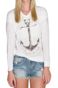 white lightweight knit hoodie anchor print