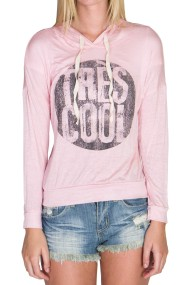 pink lightweight knit hoodie tres cool