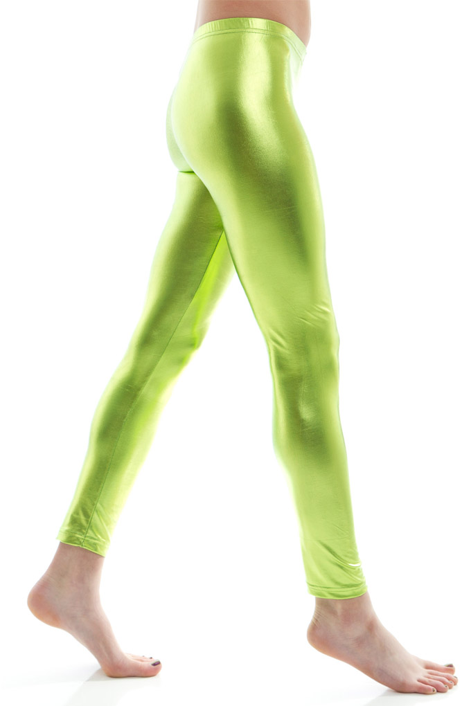 lime metallic leggings