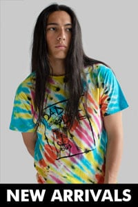 Man wearing tie-dye shirt