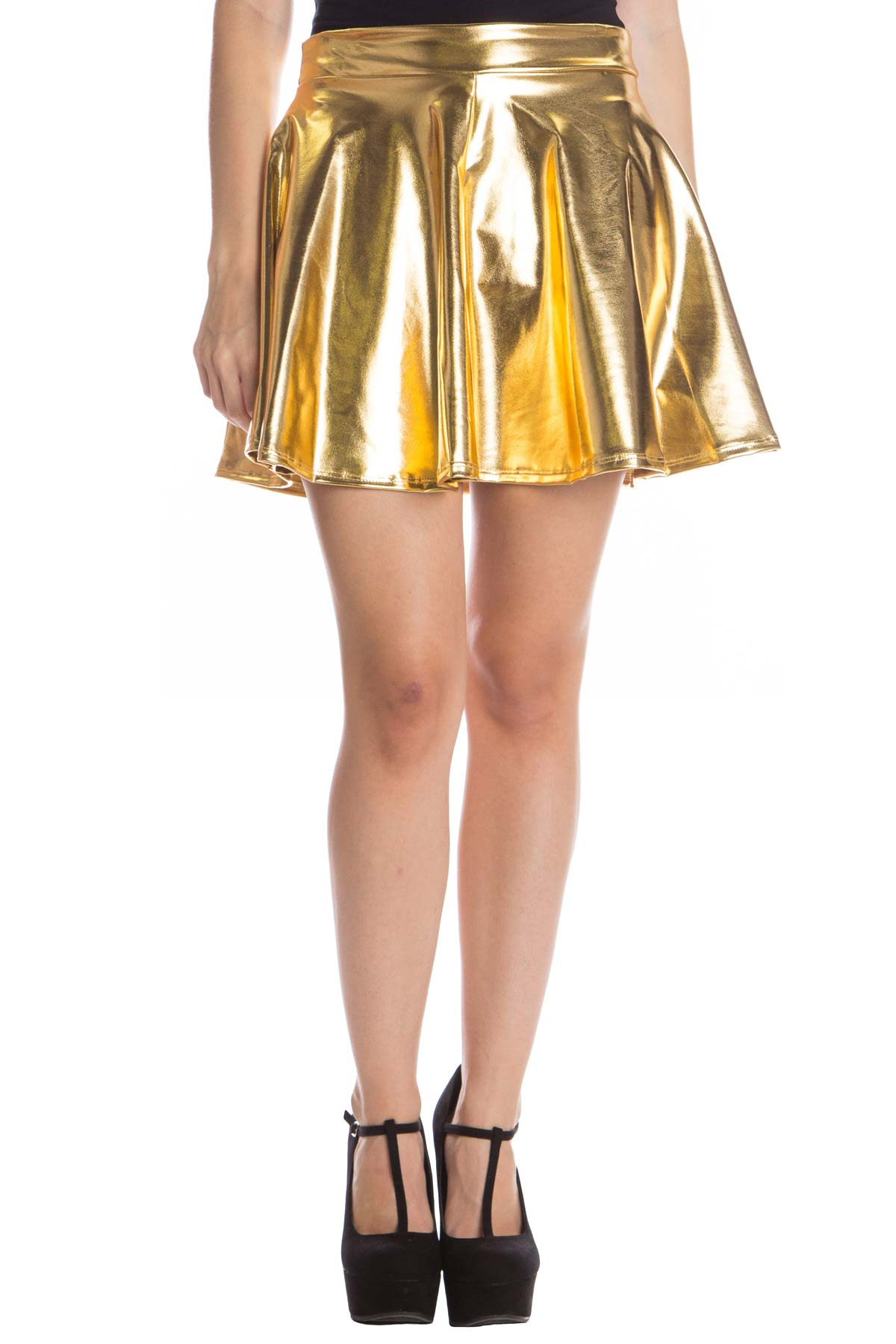 gold metallic skater skirt