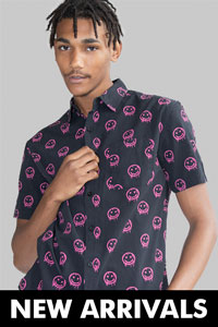 Man wearing smiley face shirt