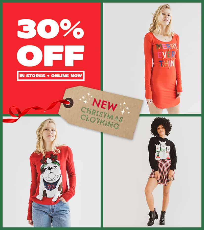 30% off new holiday apparel in stores and online