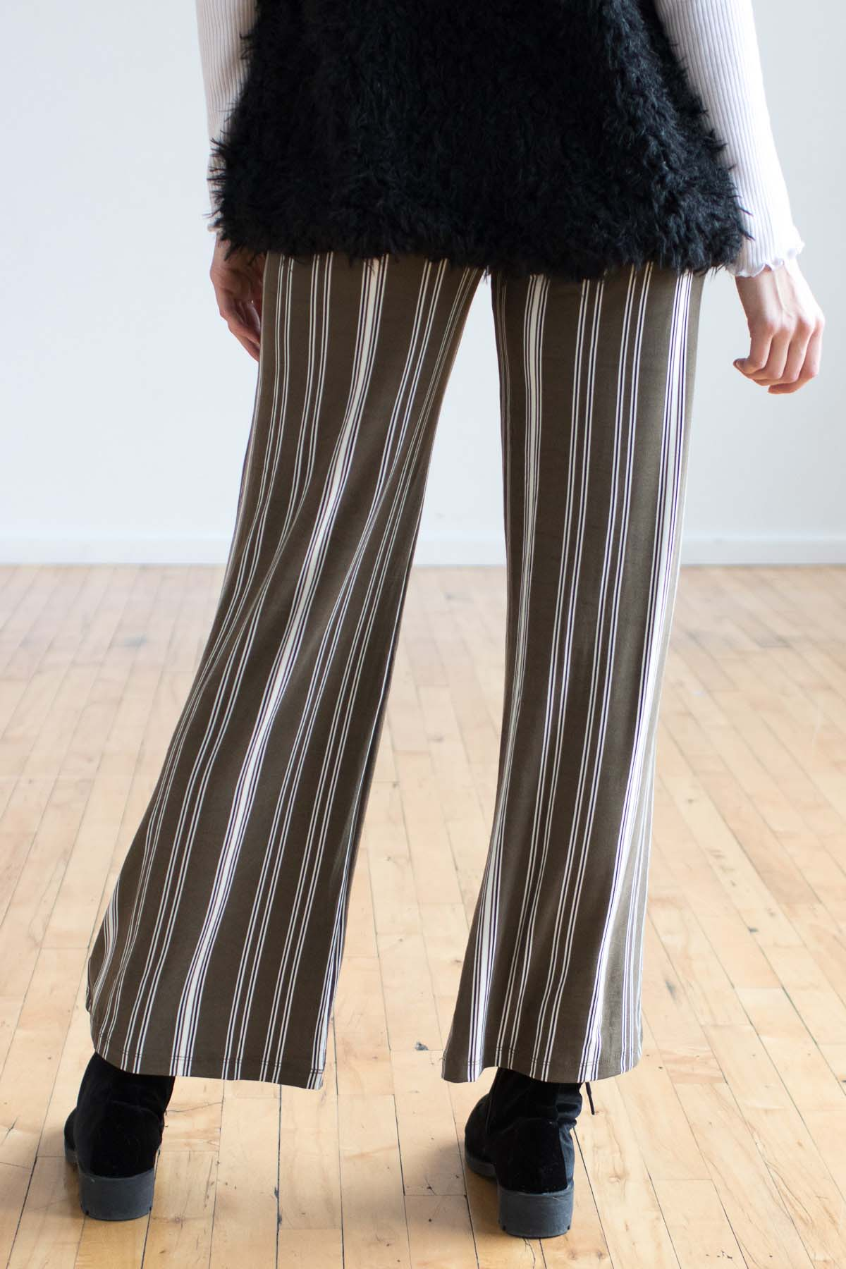 Olive Vertical Striped Palazzo Pants