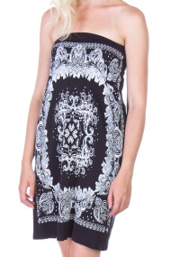 paisley-strapless-tube-dress-black-1