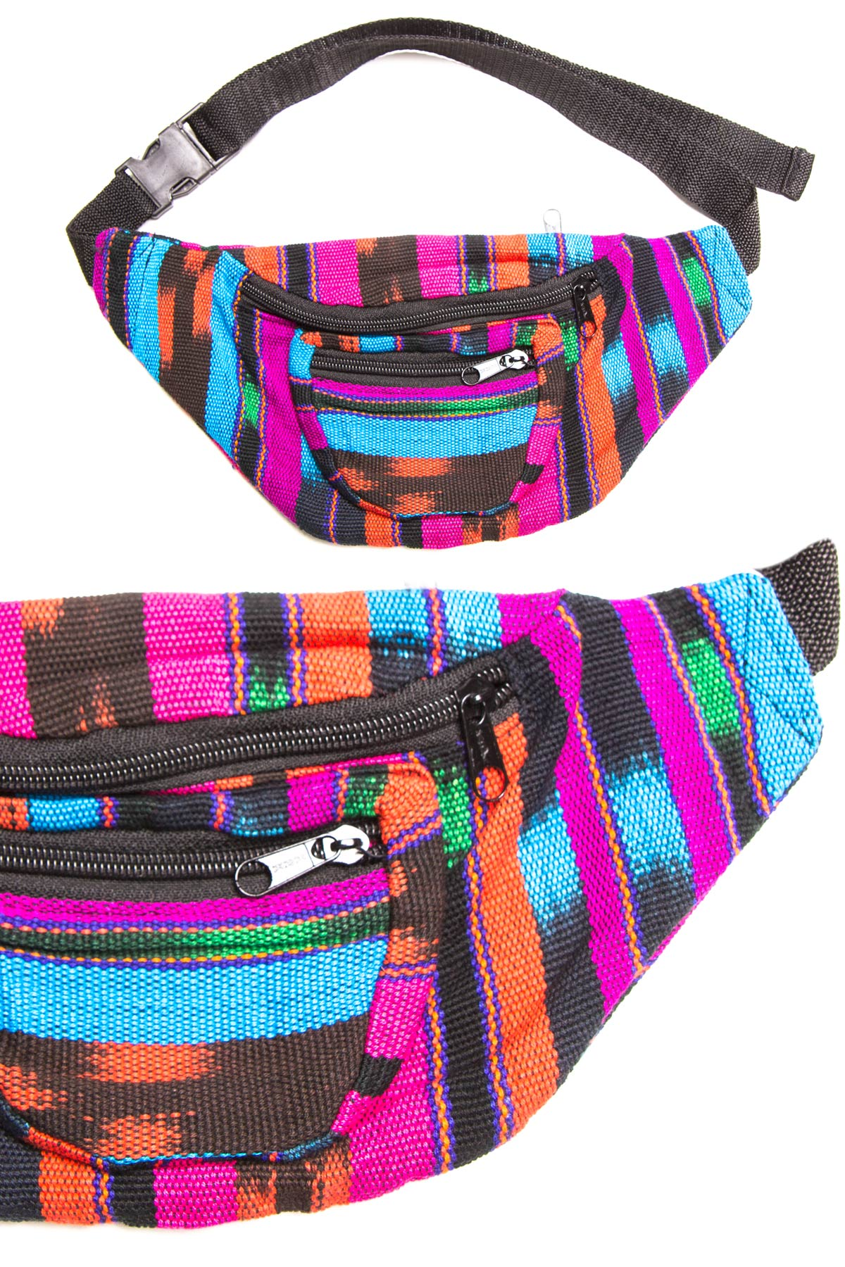 pink orange blue woven fanny pack