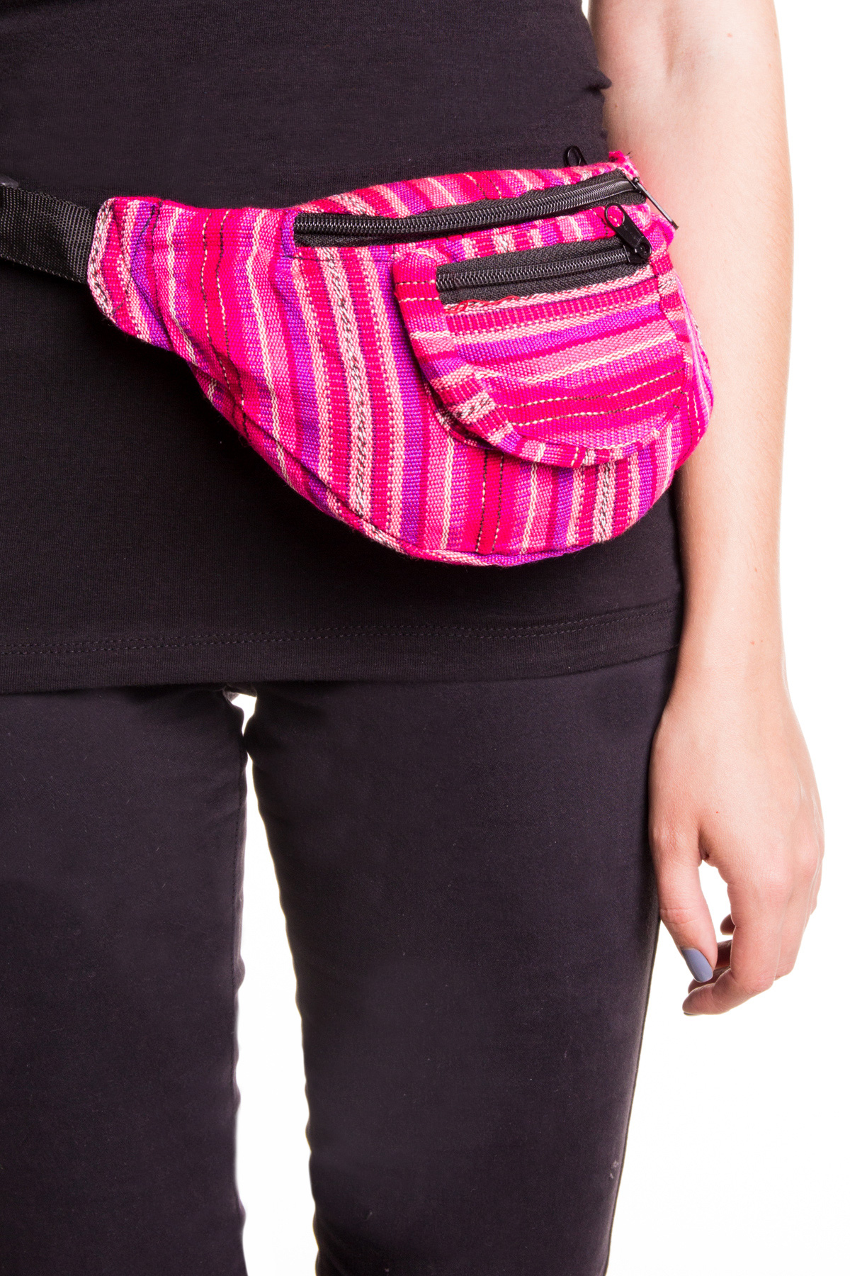 pink woven fanny pack