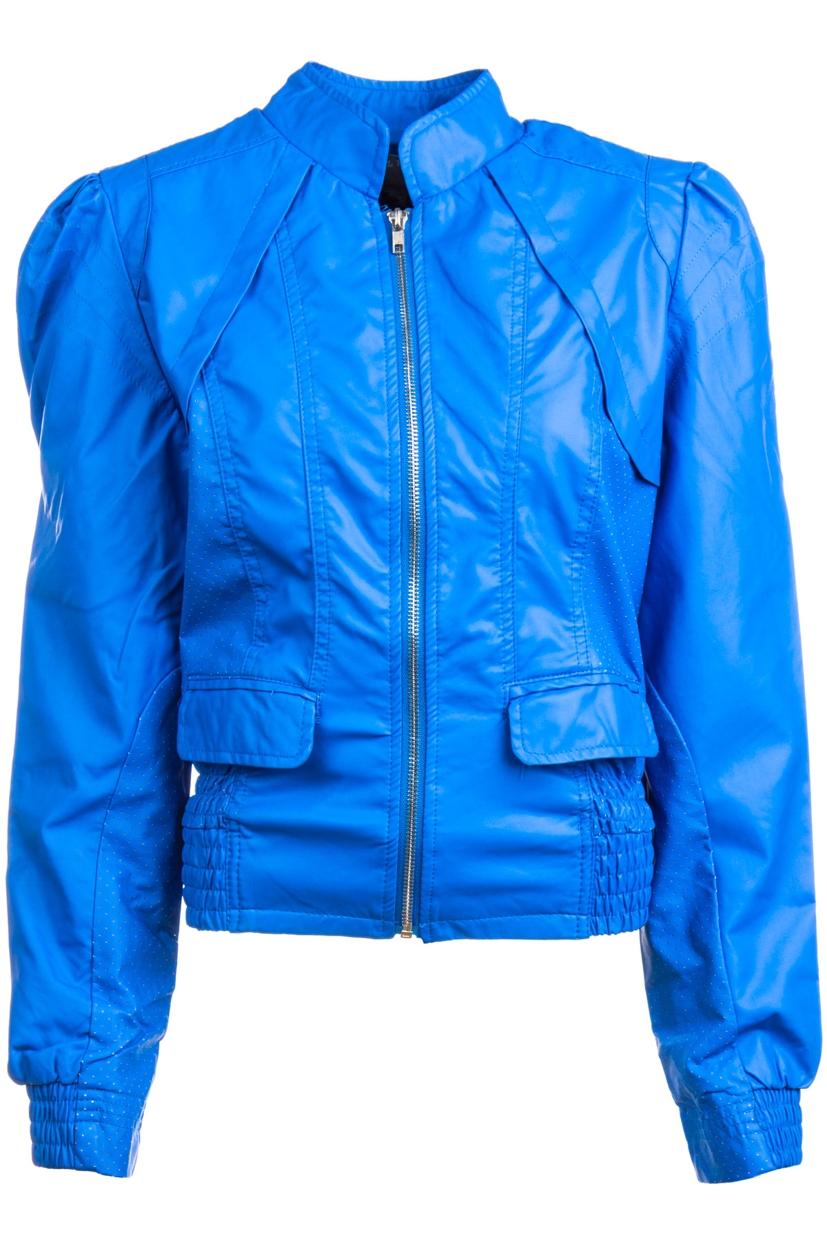 Blue Puffed Sleeves Perforated Faux Leather Moto Jacket