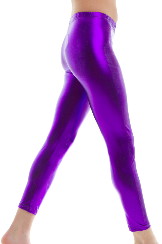 purple metallic leggings
