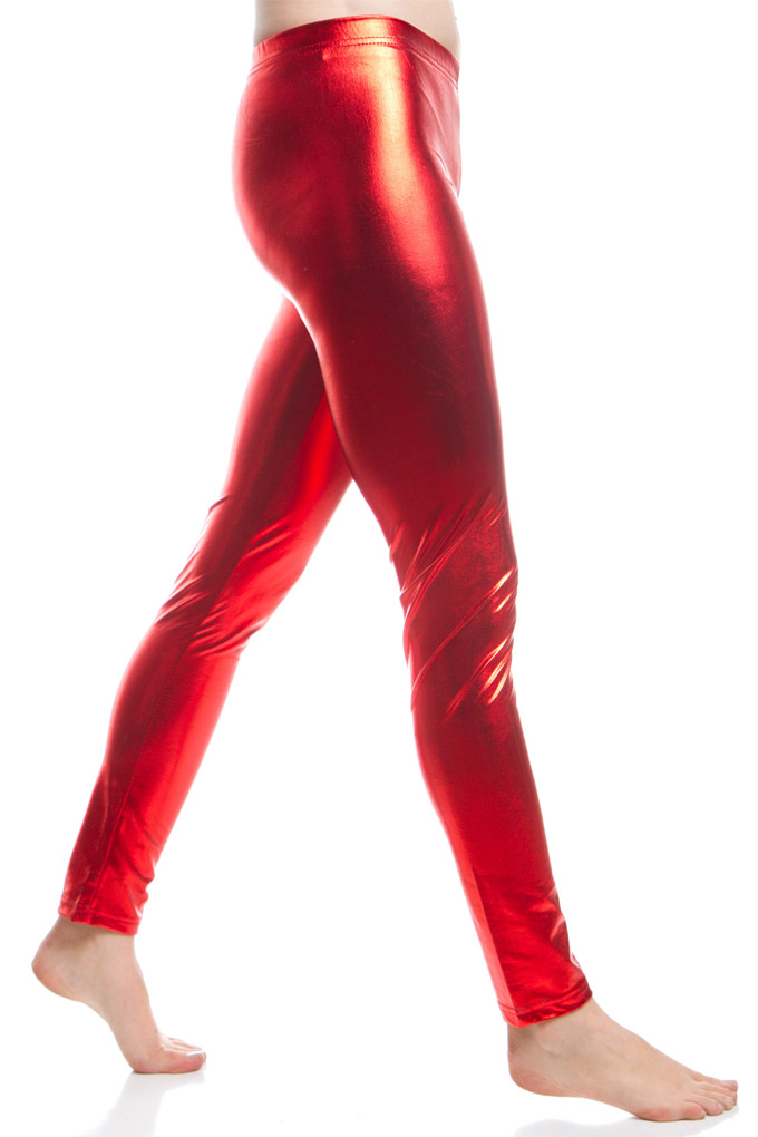 fuchsia metallic leggings