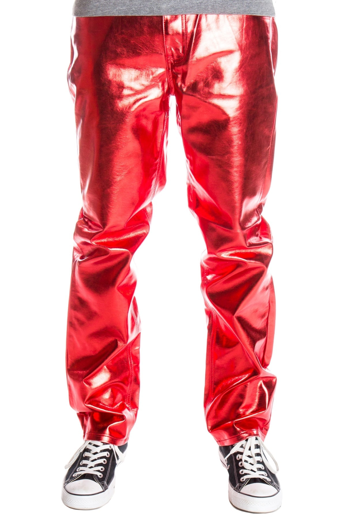 red metallic jeans for men