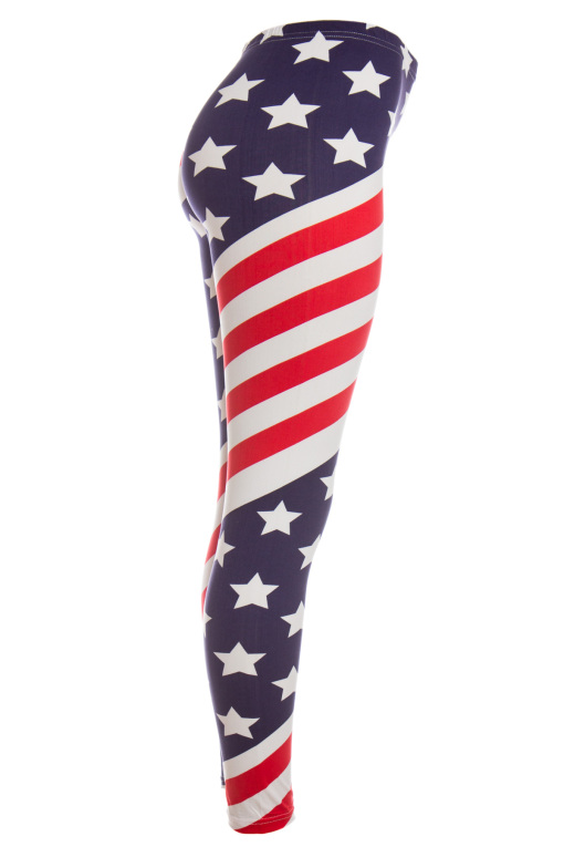 red white and blue american flag leggings