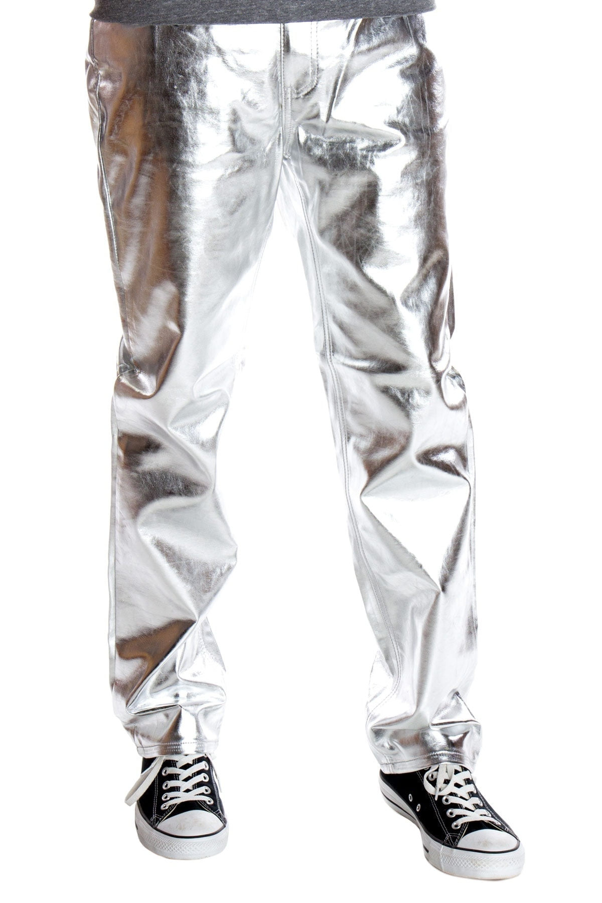 silver metallic jeans for men